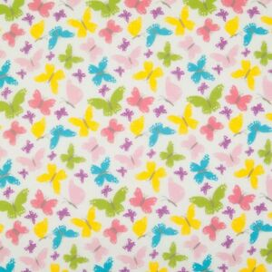 Polycotton Kids Fabric Butterflies Colourful Childrens Nursery Craft Material