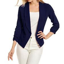 Womens 3/4 Sleeve Blazer Short Cardigan Suit Jacket Open Front Lady Office Coats