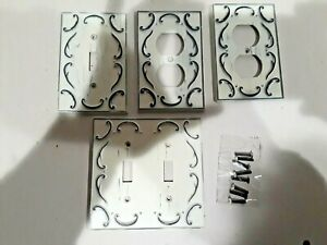 single double Switch Plate Covers Decorative Floral Filigree Light white outlet