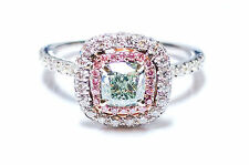 1.31ct Light Green, Intense Pink Diamond Engagement Ring GIA 18K White Gold VS1
