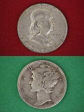 MAKE OFFER $100.00 Face Value Franklin Halves Mercury Dimes Silver Junk Coins
