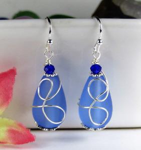 SEA GLASS Teardrop Cobalt Blue Loop Swirl SILVER Dangle Earrings