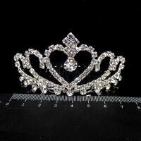 Women Floral Bridal Hair Accessories Silver Rhinestone Tiara Wedding Hair Combs