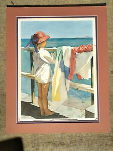 Adorable Pomm Hepner Watercolor lithograph Signed Ltd. Ed Art Print 89'  Beach