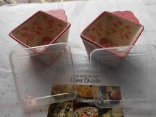 Temptations Bakeware 2 - 10 oz. Ramekin Storage w/ Lid Hot Pink Old World New
