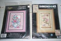 Lot 2 NIP Cross Stitch Kits Golden Bee Shells & Vase Dimensions Floral Scroll
