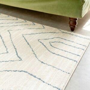 Beige Cream Rugs Zig Zag Modern Moroccan Black Japandi Scandi Berber Carpet Mats