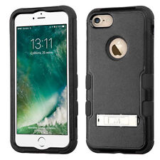 For iPhone 7 / 8 - HARD & SOFT Hybrid Kickstand Armor Impact Case Cover BLACK