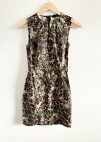Zara Dress Size Small Floral Sleeveless Fitted Short Dress Autumn/Winter Colours