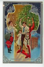 """Christmas Greetings"" Santa + Kids of Rocking Horse Antique Embossed PC ca. 1910"