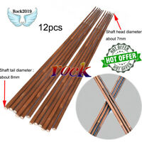 12x Handmade OD 8mm 7mm 85cm Wooden Bamboo Arrow Shaft For Hunting DIY 20-70lbs