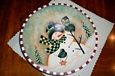 """SNOWMAN WOOD BOWL HAND PAINTED Bed, Bath & Beyond 12"""""""
