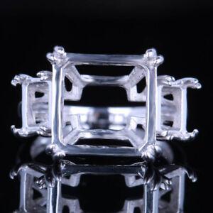 Cushion Three-stone 14K White Gold Pave.12ct Diamond Engagement Wedding Ring