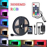 0.5M-5M 5050 RGB LED Strip Waterproof USB Light Strips with Music IR/17key RF