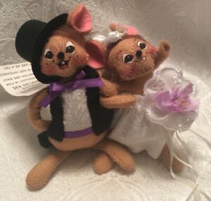 New ANNALEE 5 Inch Dolls BRIDE & GROOM MOUSE Pair Wedding NWT