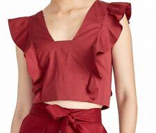 Rachel Rachel Roy Womens Blouse Black Cherry Red Size Medium M Ruffle $79 346