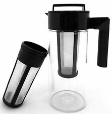 Cold Brew Tea & Coffee Maker - 2 Filters -1.4Q Glass Cold Press Iced coffee -Tea