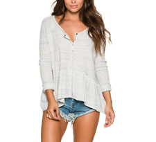FREE PEOPLE WE THE FREE COASTLINE IVORY LONG SLEEVE THERMAL HENLEY PEPLUM TOP XS