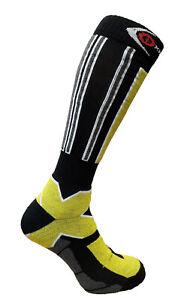 Winter Ski Socks Long Snowboard Warm Shaped Wool Antibacterial Yellow Grey Black