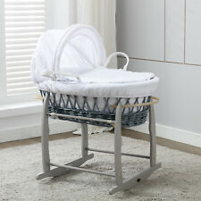 Mccfull Grey Wicker Moses Basket With Mattress Rocking Stand