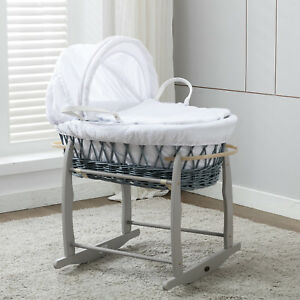 MCC®Full Set Grey Wicker Moses Basket With Mattress,Bedding sets, Rocking Stand