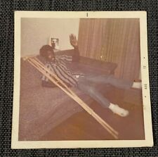 African American Man On Crutches Couch Vintage 1970s Photograph