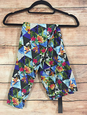 One Size Super Soft Leggings Blue Pink Yellow Floral Hawaiian Delight M272N