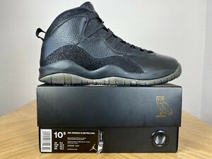 Men's Nike Air Jordan 10 X Retro OVO Black Metallic Gold Size 10.5 819955 030
