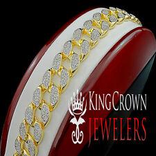 Mens BIG BOLD 14k Yellow Gold Finish Miami Cuban Link Lab Diamond Bracelet 17mm