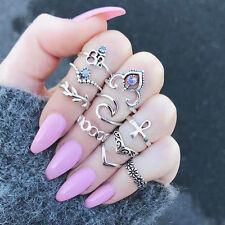 10pcs Boho Vintage Stone Hollow Flower Ring Set Midi Finger Knuckle Rings