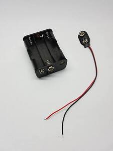 Container Battery Holder 6 Places For Aa Batteries + Snap Clips With Wires