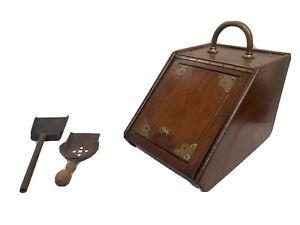 Coal Scuttle Solid Wood Antique 2 Shovels W Handle Coal Box Ornate Vintage