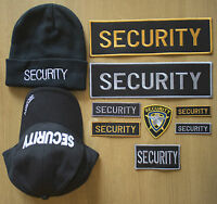 SECURITY BADGES SHIRTS CAPS BEANIES  - FABRIC SEW ON  GOLD SILVER, SMALL, MEDIUM