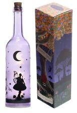 Bottiglia Viola con LED interno e disegno nero con fatina sul fungo