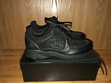 NIB CHANEL LOGO BLACK LEATHER LACE UP SNEAKERS TENNIS SHOES SHOE 40