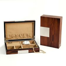 Bey Berk Lacquered Natural Wood Valet Box With Multi Compartments
