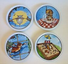 New listing Vintage Gary Patterson Ceramic Cat Lovers 4 Coasters Non Slip Back Clay Design