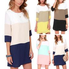 Fashion Women Long Sleeve T Shirt Casual Chiffon Blouse Long Tops Mini Dress AO