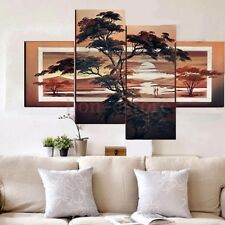 4PCS Canvas Pine Tree Oil Painting Wall Decor Modern Abstract Art Painting New