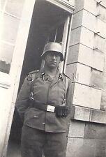 WWII German Luftwaffe RP- Soldier Stands at Parade Rest- Kit- Helmet- 1940s