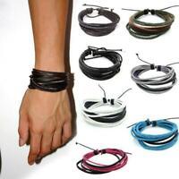 Wickeln Sie mehrschichtige synthetische Leder-Armband mit Braided Seil GRHA