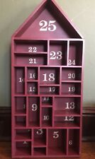 Pottery Barn Red Wood Advent Christmas farmhouse country Calendar Wall House Red