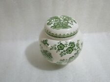 Vintage Mason's Ironstone Tea Caddy Green & White Ginger Jar  , 12 x 13 cm