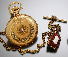 Scalloped Edge Multicolor Gold Hunter Case Pocket Watch with Chain & Cameo Fob