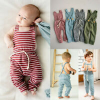 Newborn Infant Baby Girl Boy Backless Striped Romper Overalls Jumpsuit Clothes A