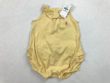 Ralph Lauren Romper 9m Infant Girls Bodysuit Ruffled Pink Pony Pale Yellow NEW