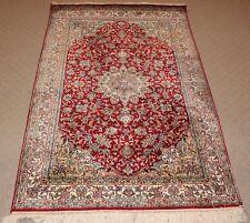 Persian Kashmir Handmade Knotted Natural Silk on Silk Rug Carpet ,Oriental Decor