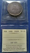 1898 PORTUGAL 1000 Reis Silver Coin 400th Discovery of India Carlos I ICCS VF-30