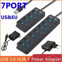 4/7 Port USB 3.0 Hub 5Gbps High Speed On/Off Switches AC Power Adapter For PCTLP
