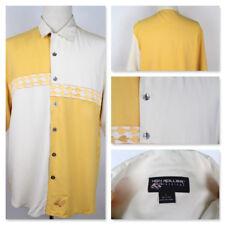 High Roller Fashions Silk Yellow Mustard Creme Short Sleeve Poker Chips Shirt L